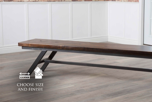 7' Fulton Modern Industrial Dining Bench in Tobacco Finish.