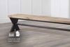 Industrial Steel X Base Dining Bench in a custom finish.