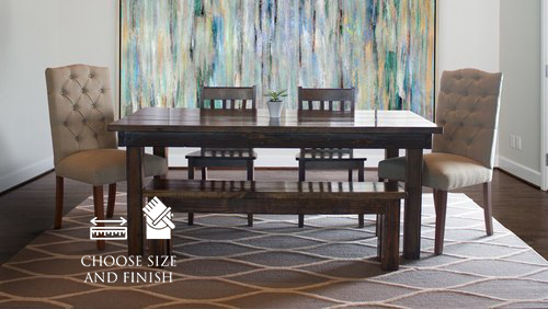 "6' x 37"" Farmhouse Table in Dark Walnut stain. Pictured with our Henry Wood Chairs, Farmhouse Bench, and Hand-tufted Rug."