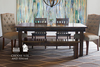 """6' x 37"""" Farmhouse Table in Dark Walnut stain. Pictured with our Henry Wood Chairs, Farmhouse Bench, and Hand-tufted Rug."""