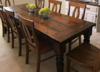 "8' L x 37"" W Baluster Turned Leg Table with a traditional top and endcaps in Dark Walnut stain. Pictured with Elizabeth Dining Chairs."
