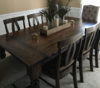 "7' x 42"" Baluster Table with a Traditional Top, stained Dark Walnut with a Semi Gloss finish."