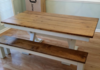 """7' L x 42"""" W Trestle Table with an apron and traditional top. Early American stain and Ivory painted base. Paired with a coordinating Farmhouse Bench."""