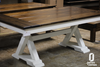 Trestle Table with an apron and a traditional top with endcaps in production at our wood shop.