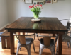 """Custom 58"""" x 58"""" Square Farmhouse Table with a traditional top in Vintage Dark Walnut stain, semi-gloss finish. Pictured with a matching Farmhouse Bench."""
