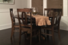 "60"" Round Pedestal Table stained Dark Walnut. Pictured with Elizabeth Dining Chairs."