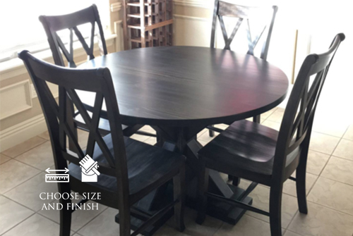 """48"""" Round X-Base Table stained Midnight with a satin finish. Pictured with Double X-Back Wood Dining Chairs."""