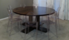 """60"""" Round Farmhouse Table stained in Dark Walnut with a Semi-Gloss Sheen."""