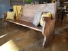 Rustic Church Pew in Barn Wood Finish, 7' L.