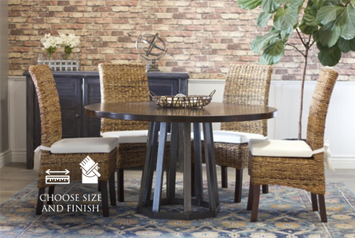 """54"""" Rustic Industrial Round Pedestal Table in Tobacco Finish."""