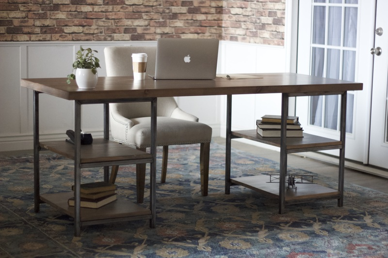 6' L Urban Industrial Desk in Barn Wood Finish.