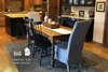 """6' L x 37"""" W Country French Turned Leg Table with a traditional top in Early American stain and a satin sheen. Paired with extra tall Rustic Windsor Dining Chairs in black."""
