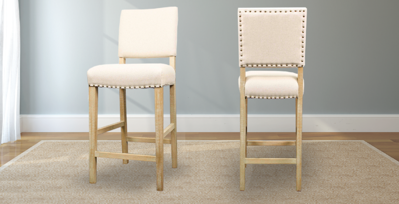 Upholstered Carson Stool with Nailhead Trim
