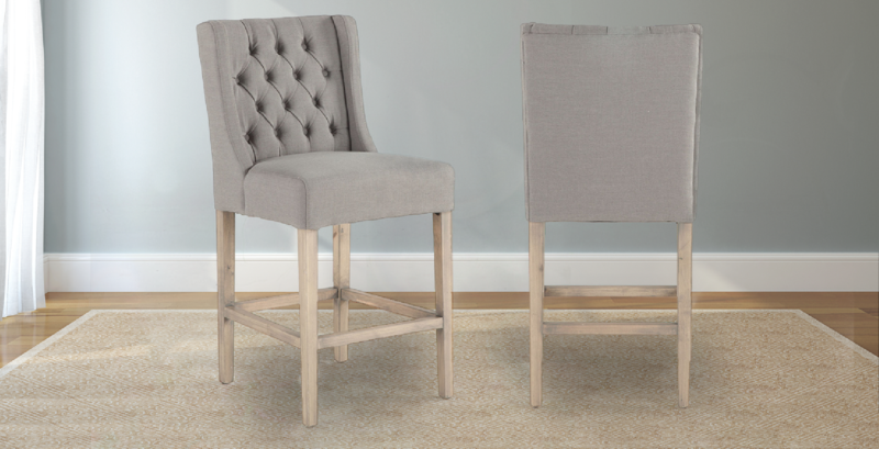 Lauren Tufted Linen Stool