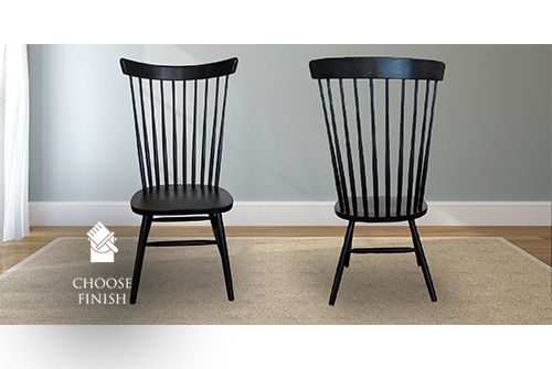 Tall Windsor Dining Chair painted black.