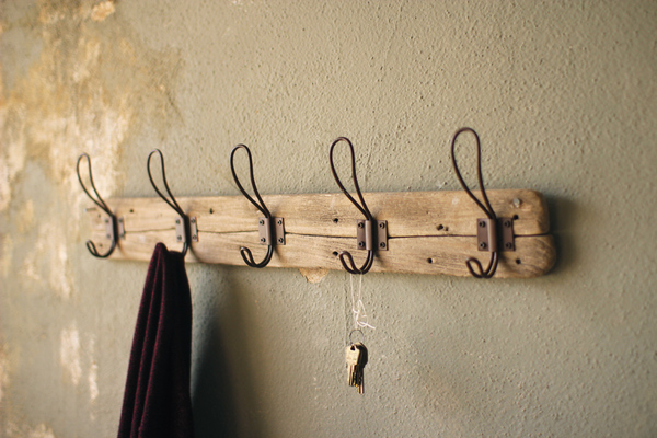 Recycled Wooden Coat Rack with Rustic Hooks.