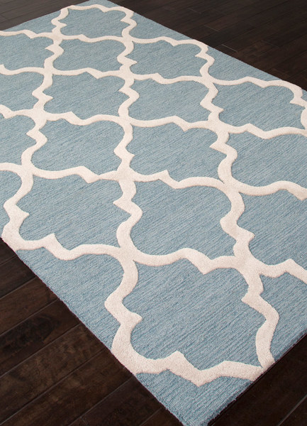 Hand-Tufted Aegean Blue & White 100% Wool