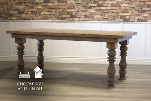 """Annli Turned Leg Cottage Dining Table, 6' L x 37"""" W in Harvest Wheat finish."""