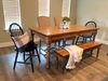 """6' L x 37"""" W Country French Turned Leg Table with a traditional top in Early American stain. Pictured with a Dianne Bench."""