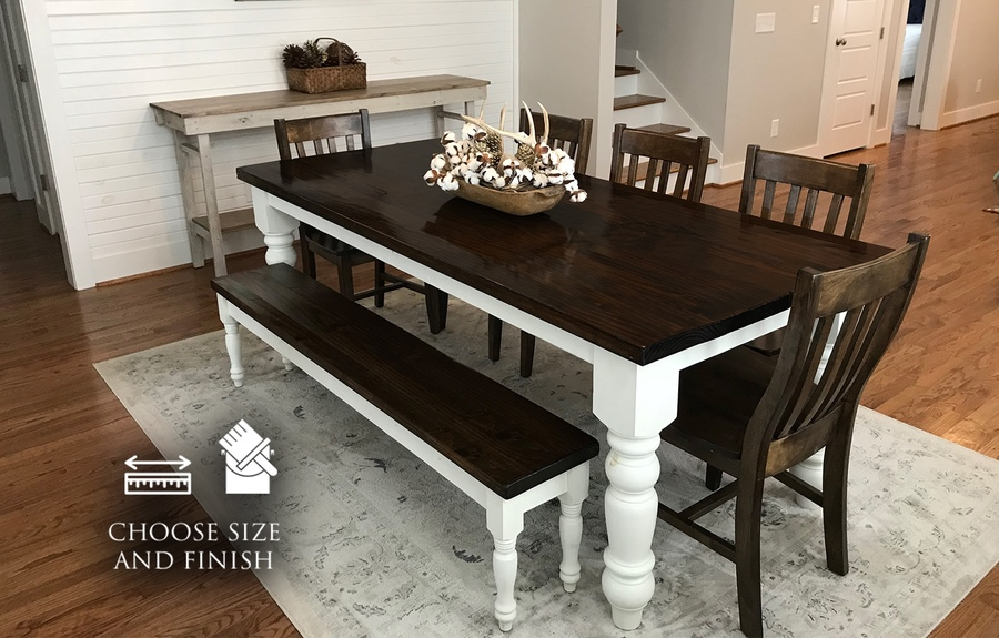 "7' L x 37"" W x 30"" H Baluster Table with a jointed tabletop in Tobacco Finish with an Ivory painted base. Pictured with a Dianne Bench and Henry Dining Chairs."