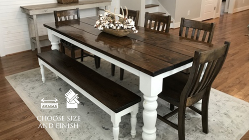 "7' L x 37"" W x 30"" H Baluster Table with a traditional tabletop stained Dark Walnut with an Ivory painted base. Pictured with a Dianne Bench and Henry Dining Chairs."
