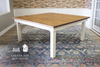 """66"""" x 66"""" Square Farmhouse Table with a traditional boarded top. Early American finish on top, ivory painted base."""