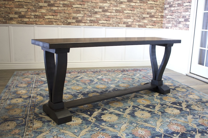 6' L Vera Trestle Console Table in Charred Ember Finish.