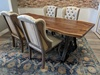 #01 Black Walnut Live Edge Slab Table paired with Anna Deconstructed Wingback Chairs.