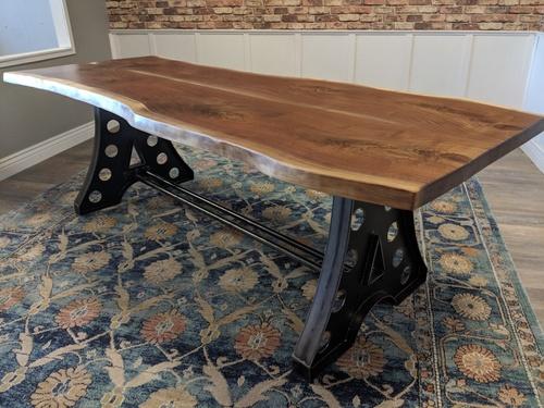 sold 01 black walnut live edge slab table james james furniture rh carpenterjames com live edge slab table legs live edge slab table diy
