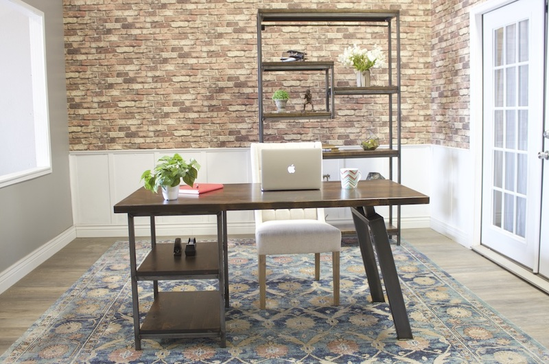 Steel and Solid Wood Shelving Unit pictured with a Fulton Desk.