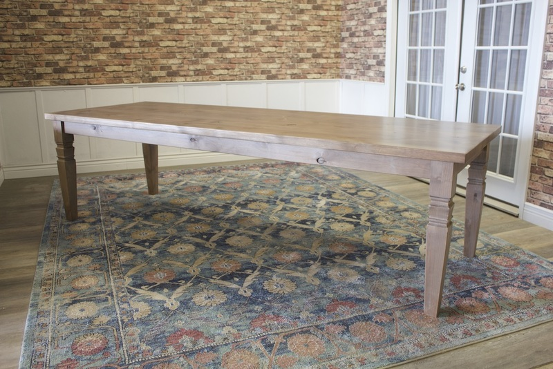 "9' L x 37"" W x 30"" H Charlotte Turned Leg Dining Table in Barn Wood Finish."