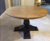 "48"" Round - 72"" Oval Expandable Round Heirloom Pedestal Table, no leaf inserted. Top in Harvest Wheat Finish, Base in Charred Ember Finish. All knots filled per customer's request."