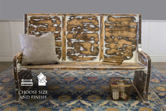 Rustic Distressed Parish Pew Bench James James Furniture