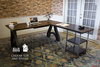 Industrial Wishbone Corner L-Shaped Desk in Tobacco Finish.