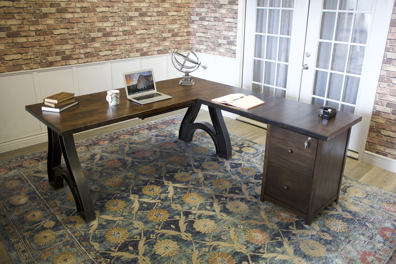 Industrial Wishbone Corner Desk with Filing Cabinet in Tobacco Finish.