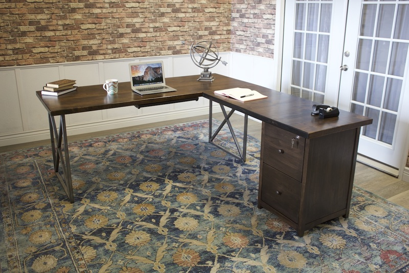 Steel and Wood Corner L-Shaped Desk with Filing Cabinet in Tobacco Finish.
