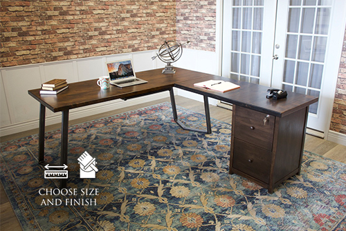 Arkwright Corner L-Shaped Desk with Filing Cabinet in Tobacco Finish.