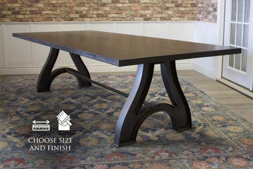 "9' L x 45"" W Factory Metal Wishbone Dining Table in Charred Ember Finish."