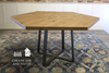 Hexagon Industrial Steel Pedestal Table in Harvest Wheat Finish.
