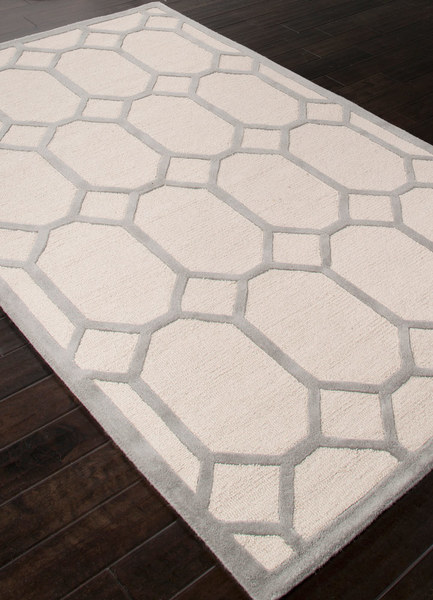 Contemporary Wool Rug - Antique White & Gray