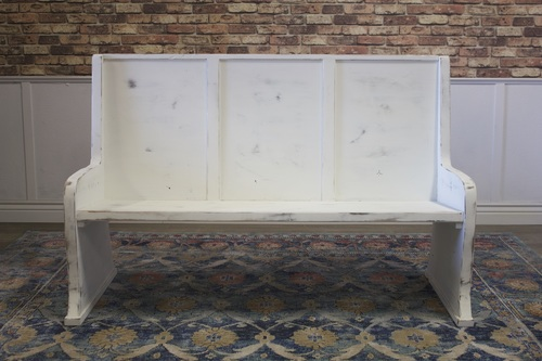 Sensational White Distressed Painted Parish Pew Bench Machost Co Dining Chair Design Ideas Machostcouk