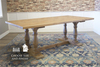 Madeline Double Pedestal Table in Harvest Wheat Finish.