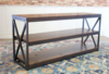 Low Steel and Wood Shelving Unit in Tobacco Finish (open knots).