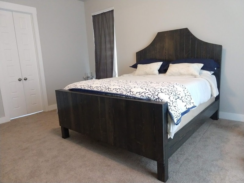 Megan Wood Bed with Notched Headboard and matching Footboard in Industrial Grey stain. California King Size.