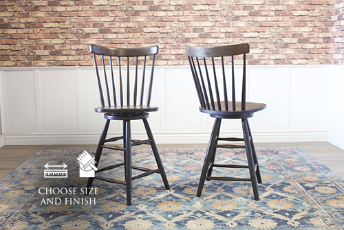 Rustic Windsor Swivel Stool, counter height, in Midnight stain.