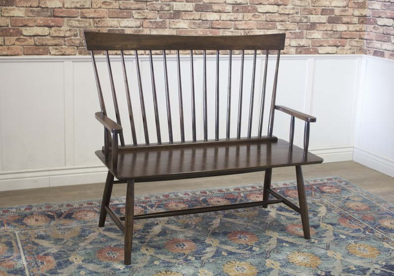 Tall Windsor Bench in Dark Walnut stain.