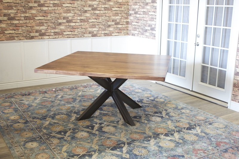 "60"" x 60"" Black Walnut Square Shiloh Industrial Pedestal Table."