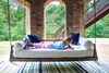 Piper Wood Porch Swing Bed Daybed in Tobacco Finish, Twin Size.