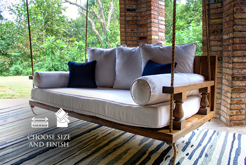 Maisie Wood Porch Swing Bed Daybed, Twin Size, in Harvest Wheat Finish. Pictured with our Sketched Indoor / Outdoor Rug.