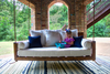 Avery Wood Porch Swing Bed Daybed in Tuscany Finish. Pictured with the Sketched Indoor / Outdoor Rug.
